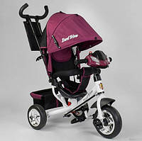 Дитячий триколісний велосипед з ручкою козирком фарою колеса піна Best Trike 6588-28-549