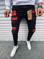 """Молодежные мужские весенние рваные джинсы """"L.I.F.E"""" черные с красным - 34, 36"""