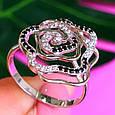 Серебряное родированное кольцо Роза с фианитами, фото 2