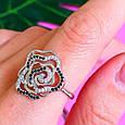 Серебряное родированное кольцо Роза с фианитами, фото 3