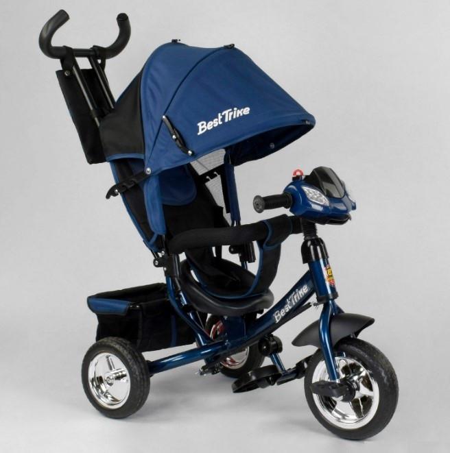 Детский трехколесный велосипед с ручкой козырьком фарой колеса пена Best Trike 6588-27-136