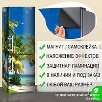 Магнитная Пленка на холодильник с фото морского пляжа, магнитная 180 х 60 см, Лицевая