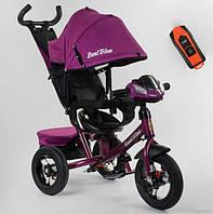 Велосипед трехколесный детский с родительской ручкой капюшоном надувные колеса Best Trike 7700В/76-839
