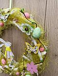 Великодній вінок з пасхальним зайцем (кроликом) як декор на двері, вітрину, стіну., фото 3