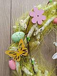 Великодній вінок з пасхальним зайцем (кроликом) як декор на двері, вітрину, стіну., фото 4