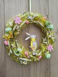 Великодній вінок з пасхальним зайцем (кроликом) як декор на двері, вітрину, стіну., фото 5
