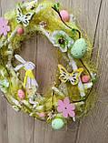 Великодній вінок з пасхальним зайцем (кроликом) як декор на двері, вітрину, стіну., фото 6