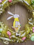 Великодній вінок з пасхальним зайцем (кроликом) як декор на двері, вітрину, стіну., фото 8