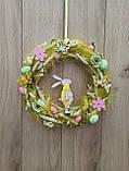 Великодній вінок з пасхальним зайцем (кроликом) як декор на двері, вітрину, стіну., фото 10