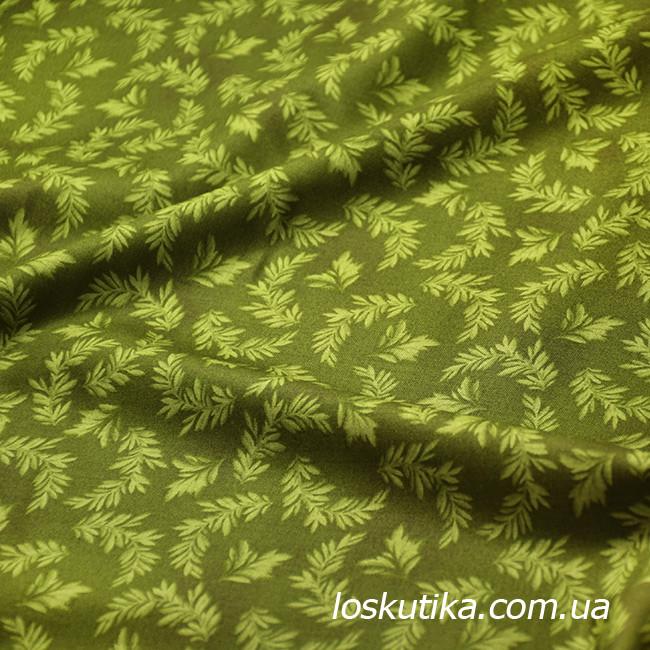 55013 Зеленая веточка. Ткань для хендмэйд творчества. Хлопковая.