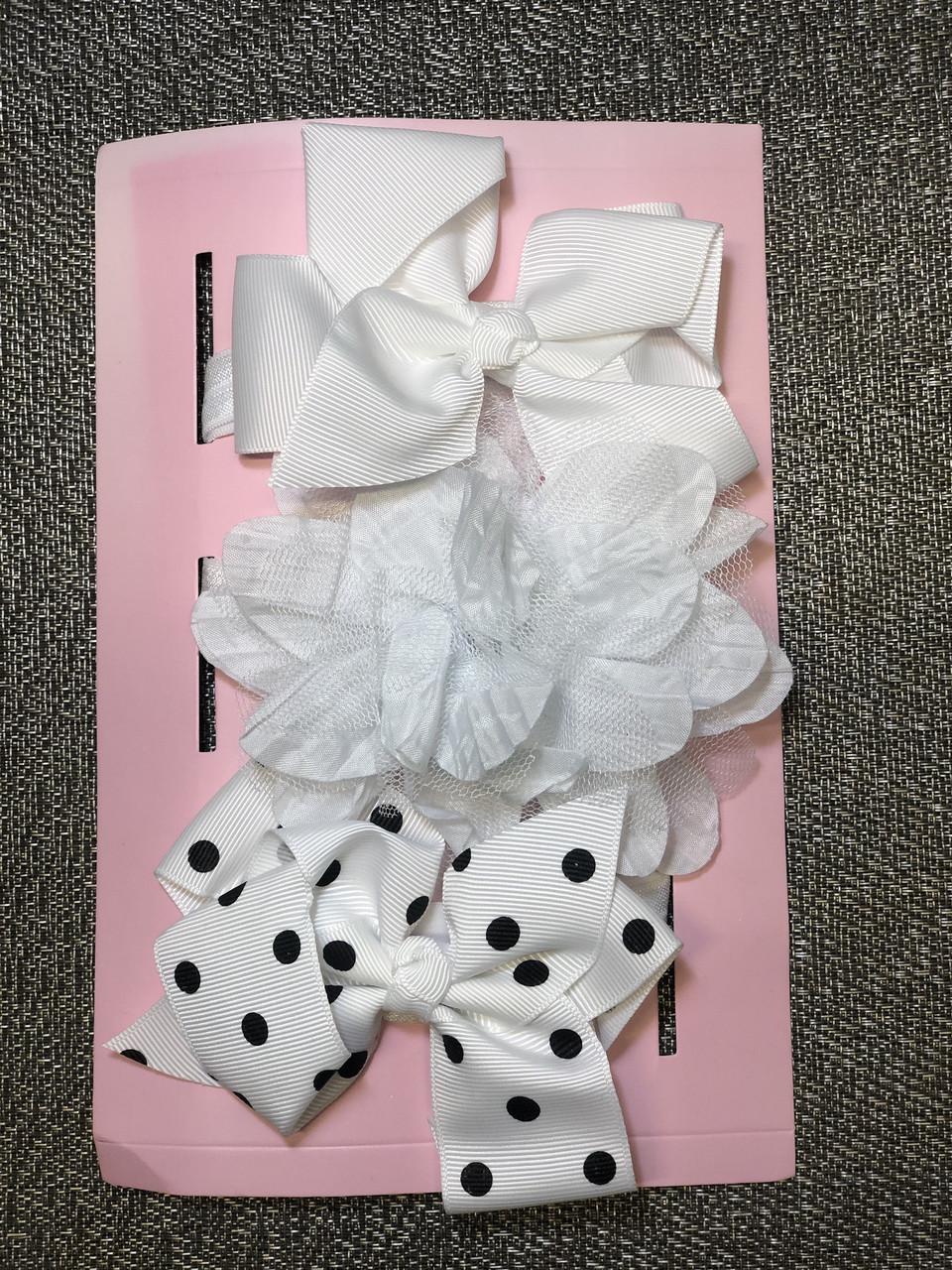 Повязка Набір для дівчинки, біла, квіточки бантики, набор для девочки, белая цветочки