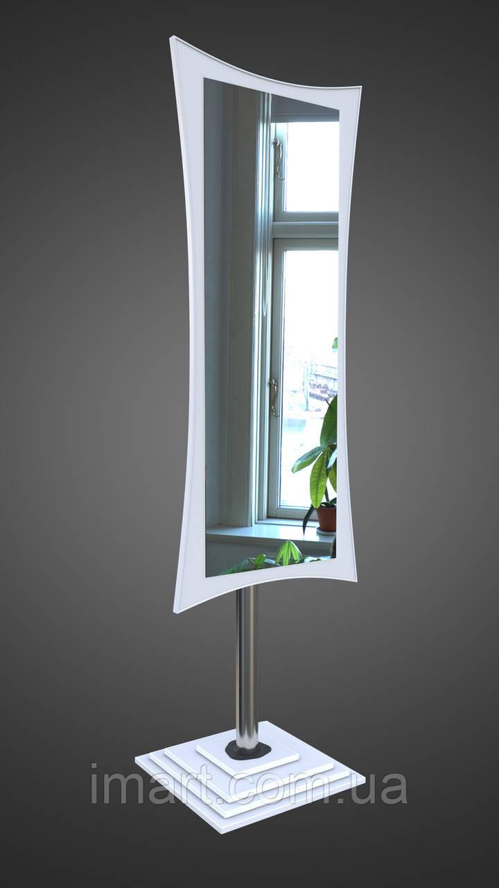 Напольное зеркало на ножке, белое