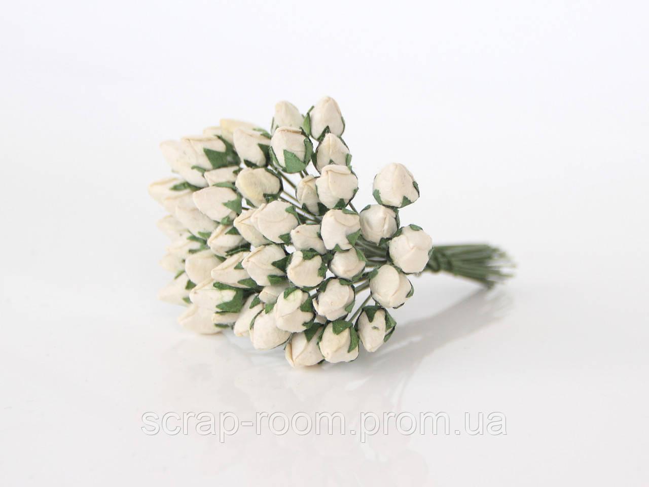Роза бутон закрытый светлый бежевый 1 см, бутоны розы закрытые беж, бежевые розы, бумажные цветы, цена за 1 шт