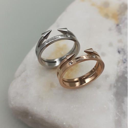 Кільце жіночі з написом Eternal Love сталеве в двох кольорах 4 мм 175442