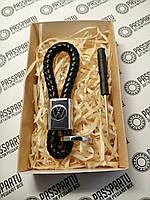 Брелок кожаный плетеный черный + карабин для ключей с маркой Volkswagen в подарочной коробочке в Украине