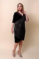 Праздничное женское платье больших размеров черного цвета. Размеры 52, 54, 56, 58.  Хмельницкий, фото 1