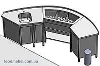 Барная станция радиусная FoodMebel для круглой барной стойки