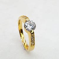 Кольцо с цирконием для предложения (помолвки) из медицинского золота 3 мм 175444