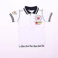 Детская футболка поло для мальчика,белая, возраст 1,2,3,4,5 лет,рост 86,92,98,104 см.