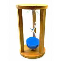 Часы песочные бамбуковые 60 мин синий песок (19х10х10 см), фото 1