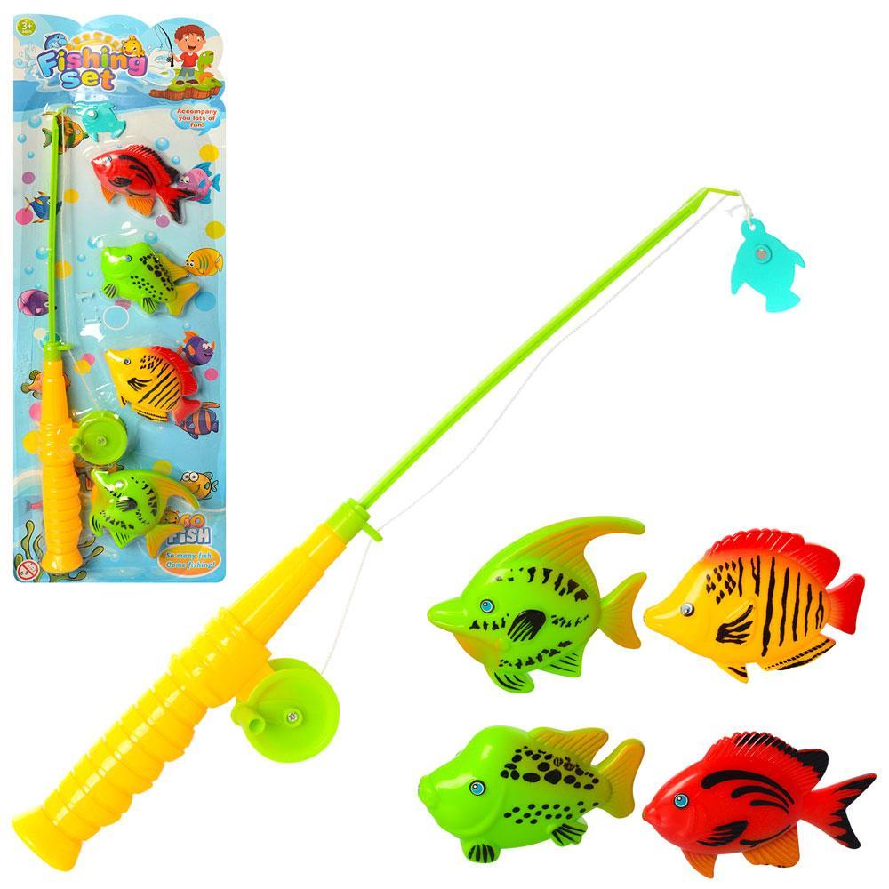 Рыбалка, удочка с магнитом, рыбки, микс цветов, 6508-04