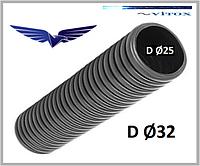 Гофротруба негорючая с протяжкой серая D-32мм,