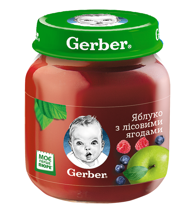 "Пюре GERBER ""Яблуко з лісовими ягодами""130г"
