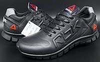 Кожаные мужские кроссовки  Reebok CrossFit (model 12/16) чёрные