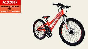 """Велосипед 2-х колісний 24"""", ЗІБРАНИЙ НА 75%, дискові гальма, без додаткових коліс, A192007"""