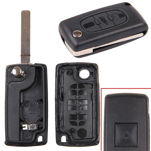 Выкидной ключ зажигания, заготовка корпус под чип, 3 кнопки, Citroen