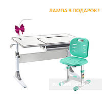 Комплект парта для школьников Cubby Grato Grey+детский стул FunDesk SST2 Green
