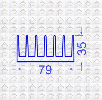 Радиаторный алюминиевый профиль 79х35 без покрытия (радиатор охлаждения), фото 2