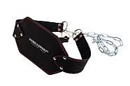 Пояс кожаный с цепью для утяжеления (атлетический) 85 см черный, фото 2