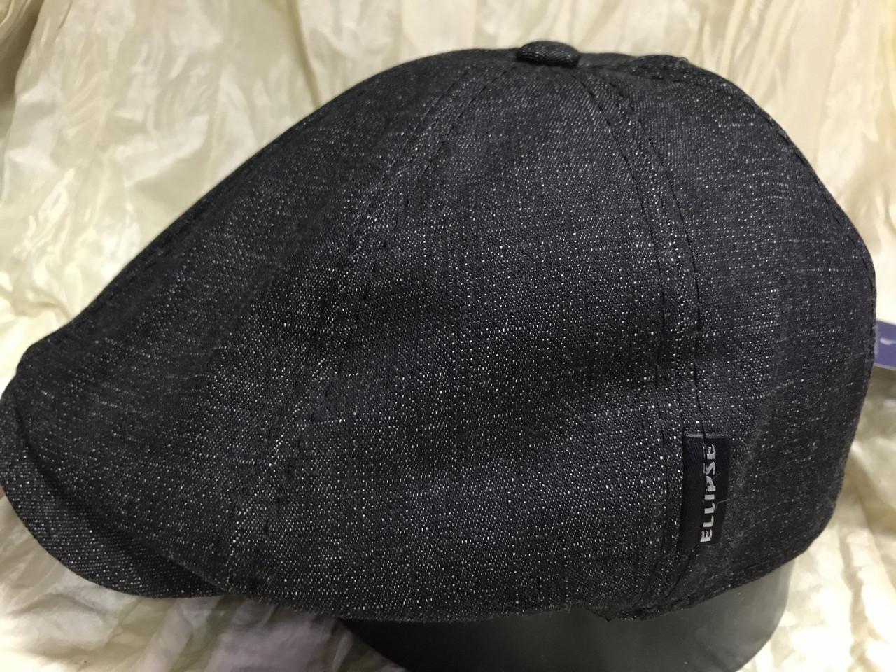 Кепка мужская восьмиклинка из чёрной джинсы  размер  61-62
