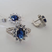 Серебряный гарнитур с темно-синими и белыми цирконами, фото 1