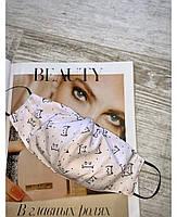 Защитная многоразовая тканевая маска хлопок с резинкой  принт коты качественного пошива