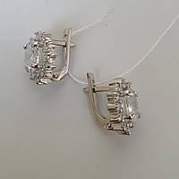 Серебряные серьги с белым камнем 20з, фото 1
