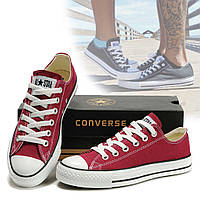 Кеды Converse низкие бордовые All Star / Мужские, женские низкие кеды
