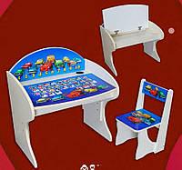 """Детская парта со стулом """"Тачки без мольберта"""" регулируемая по высоте от 2 до 8 лет."""