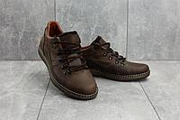 Мужские туфли кожаные весна/осень коричневые-матовые Yuves 650