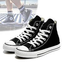 Кеды Converse All Star высокие черно-белые / Кеды высокие в стиле Converse