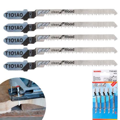 Набор из 5 пильных полотен, пилок T101AO по дереву для электролобзика