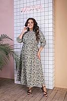 Женское свободное платье в цветочный принт батальное