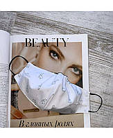 Белая защитная маска с принтом лама с фиксацией резинкой  оптом и в розницу
