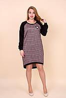 Платье в клетку повседневное Батал цвет розовый. Размеры 52, 54, 56, 58.  Хмельницкий, фото 1