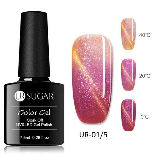 Термо гель-лак кошачий глаз для ногтей маникюра термолак 7.5мл UR Sugar, UR-01/5