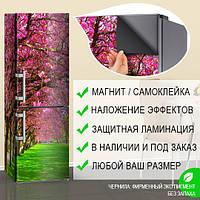 Наклейки для декора холодильника с цветущим лесом на магнитном виниле