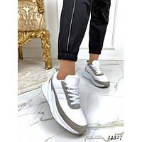 Кроссовки в стиле Adidas Shark демисезонные бело-серые