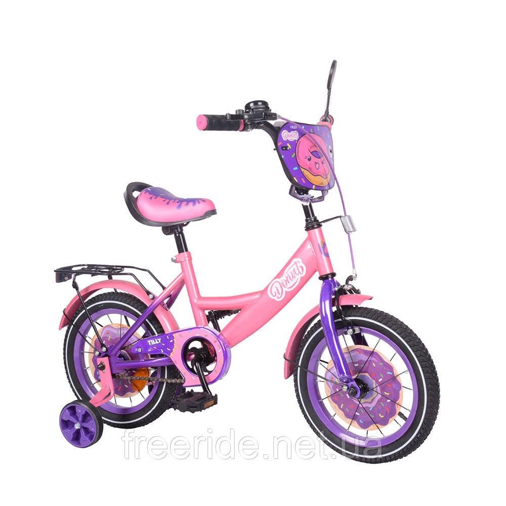 Детский велосипед TILLY Donut 14 T-214214 pink + purple