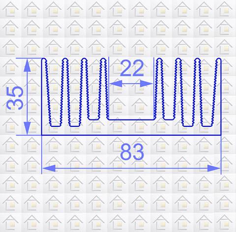Радиаторный алюминиевый профиль 83х35 без покрытия (радиатор охлаждения), фото 2